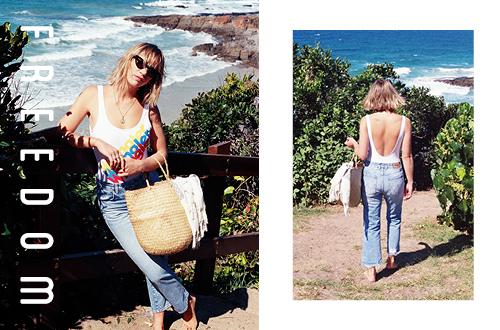 Holly Ryan wearing Wranglers tri logo gia one piece swimsuit