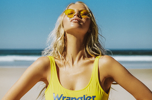 Bridgette in Wrangler Gia One Piece Sunshine swimsuit