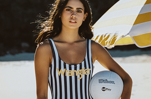 Wrangler Stripe Logo Gia One Piece in Navy