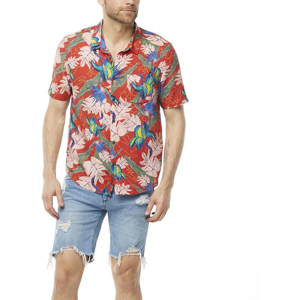 Image of Wrangler Red Tropics Garageland Shirt Red Tropics
