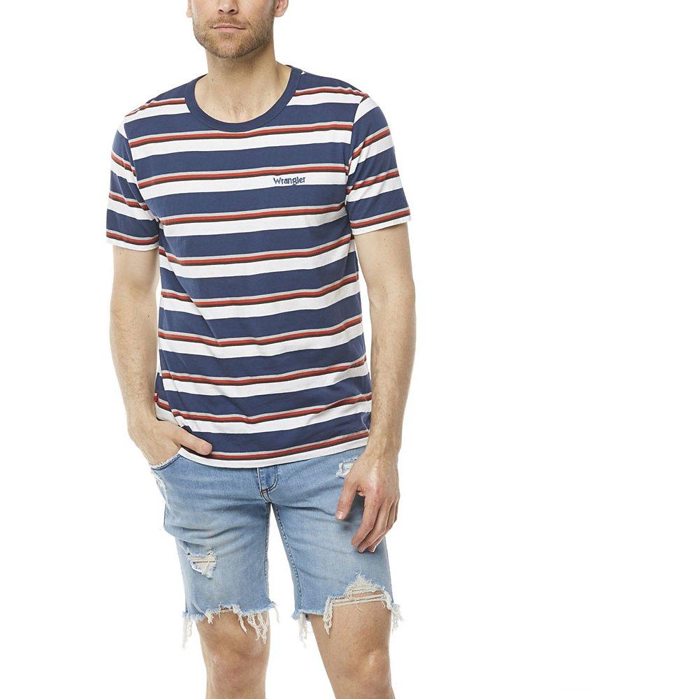 Image of Wrangler Navy Stripe Slip Stripe Tee Navy Stripe
