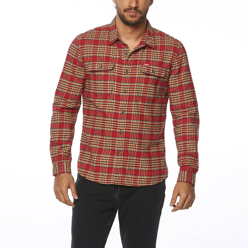 Image of Wrangler Red Check Lock In Shirt Red Check