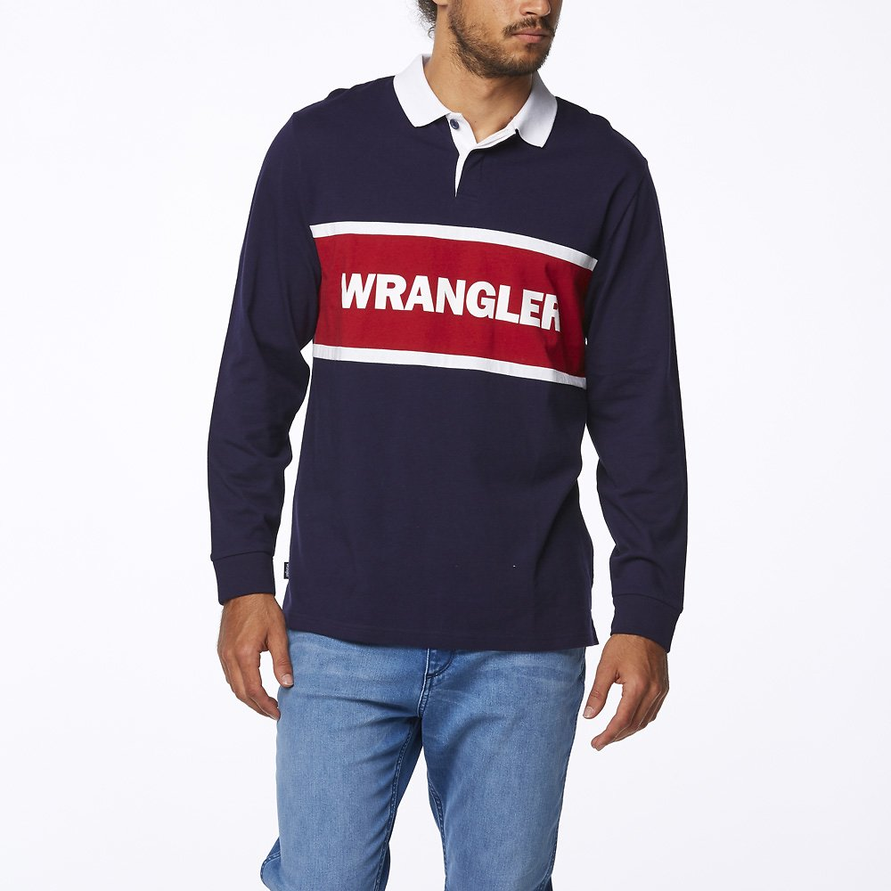 Image of Wrangler Navy Team Polo Top Navy/Red