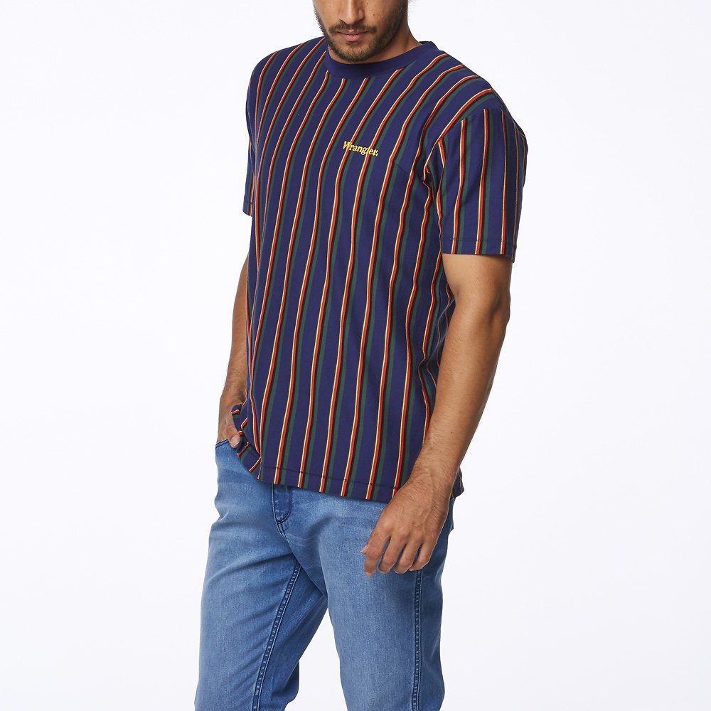 Image of Wrangler Blue Stripe Vertical Vault Tee Navy Stripe
