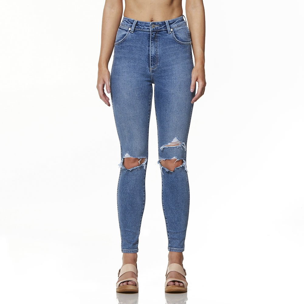 Image of Wrangler Sunday Stoned Hi Pins Cropped Jean Holiday Destroyed
