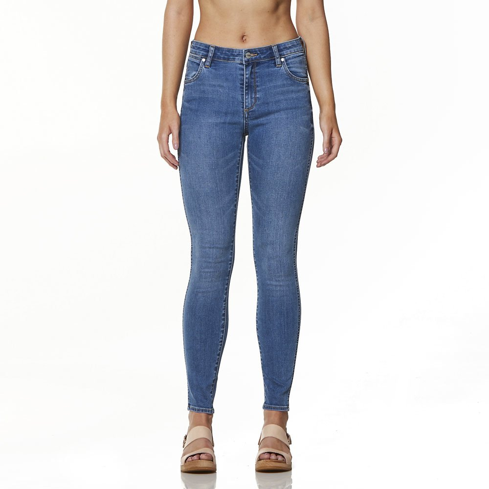 Image of Wrangler Holiday Blues Mid Pins Cropped Jean Holiday Blues