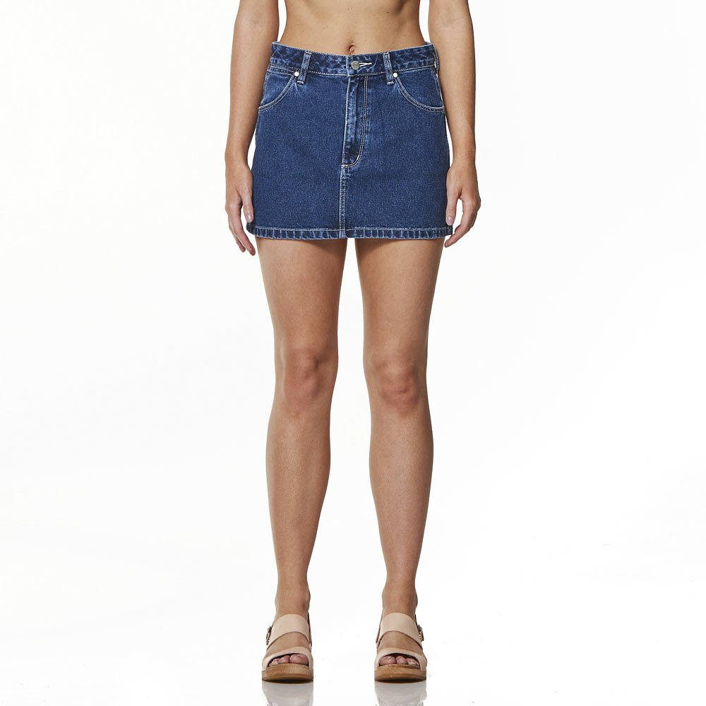 Image of Wrangler Broken Stoned Straight Mini Skirt Broken Stoned