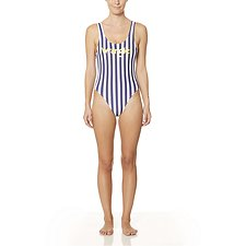 Image of Wrangler Navy/White Stripe Logo Gia One Piece Navy Stripe