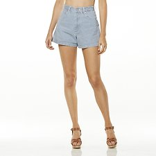 Image of Wrangler Indigo Stripe Hi Bells Short Indigo Stripe