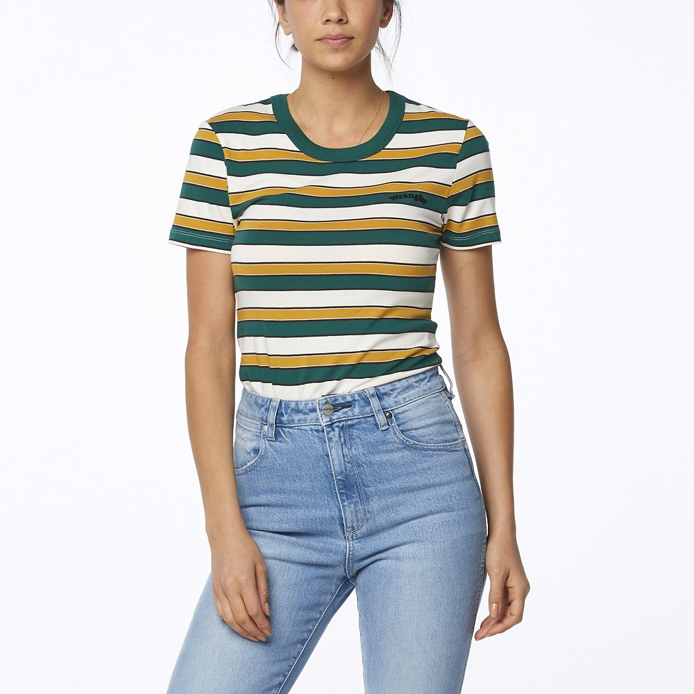 Image of Wrangler Green Stripe Desert Tee Green Stripe