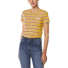 Image of Wrangler Gold Stripe Summer Wine Tee Gold Stripe