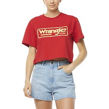 Image of Wrangler Worn Red Archive Cropped Tee Worn Red