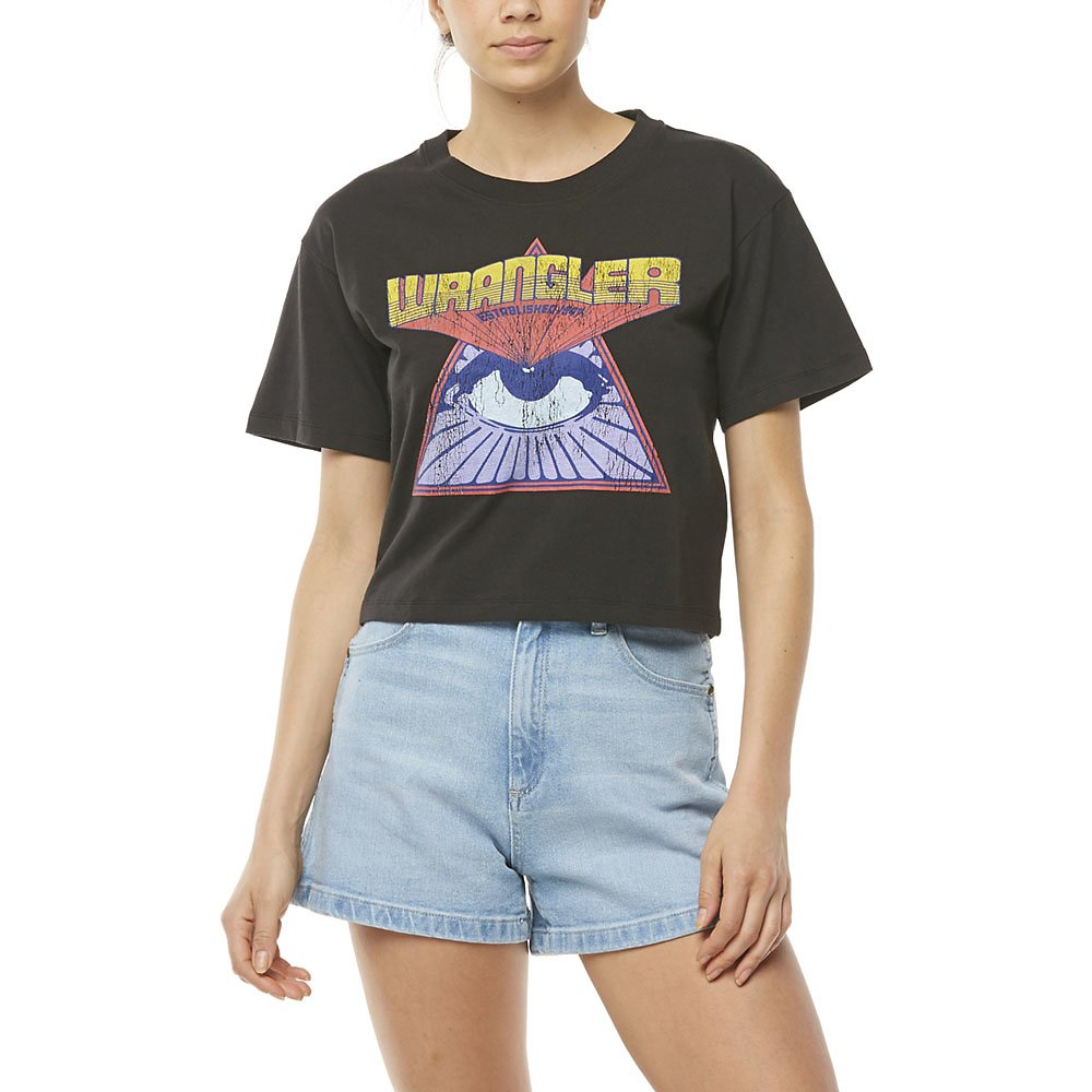 Image of Wrangler Worn Black All Seeing Eye Cropped Tee Worn Black