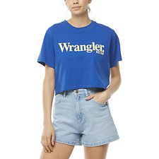 Image of Wrangler Blue/Yellow Lights Cropped Tee Blue/Yellow