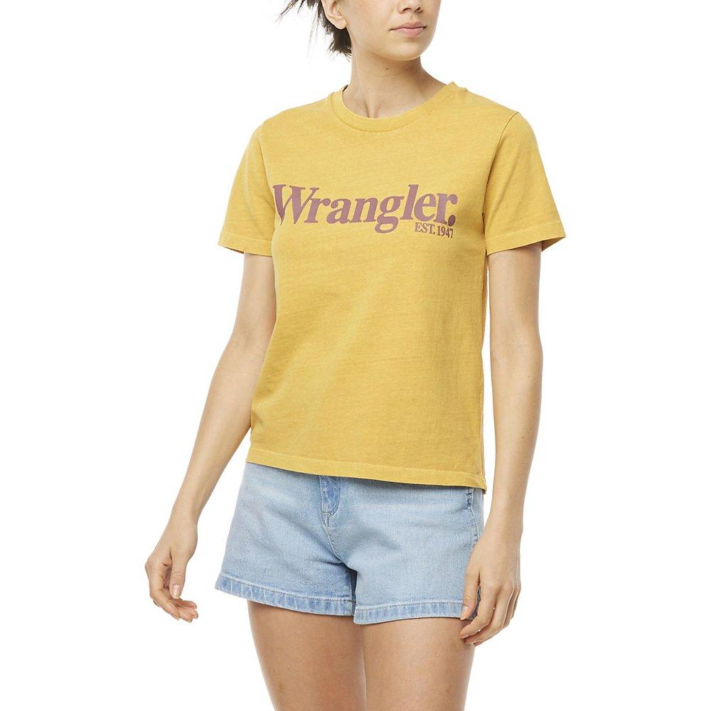 Image of Wrangler Vintage Gold Lights Logo Tee Vintage Gold