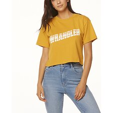Image of Wrangler Black Stripe Tapes Cropped Tee Vintage Gold