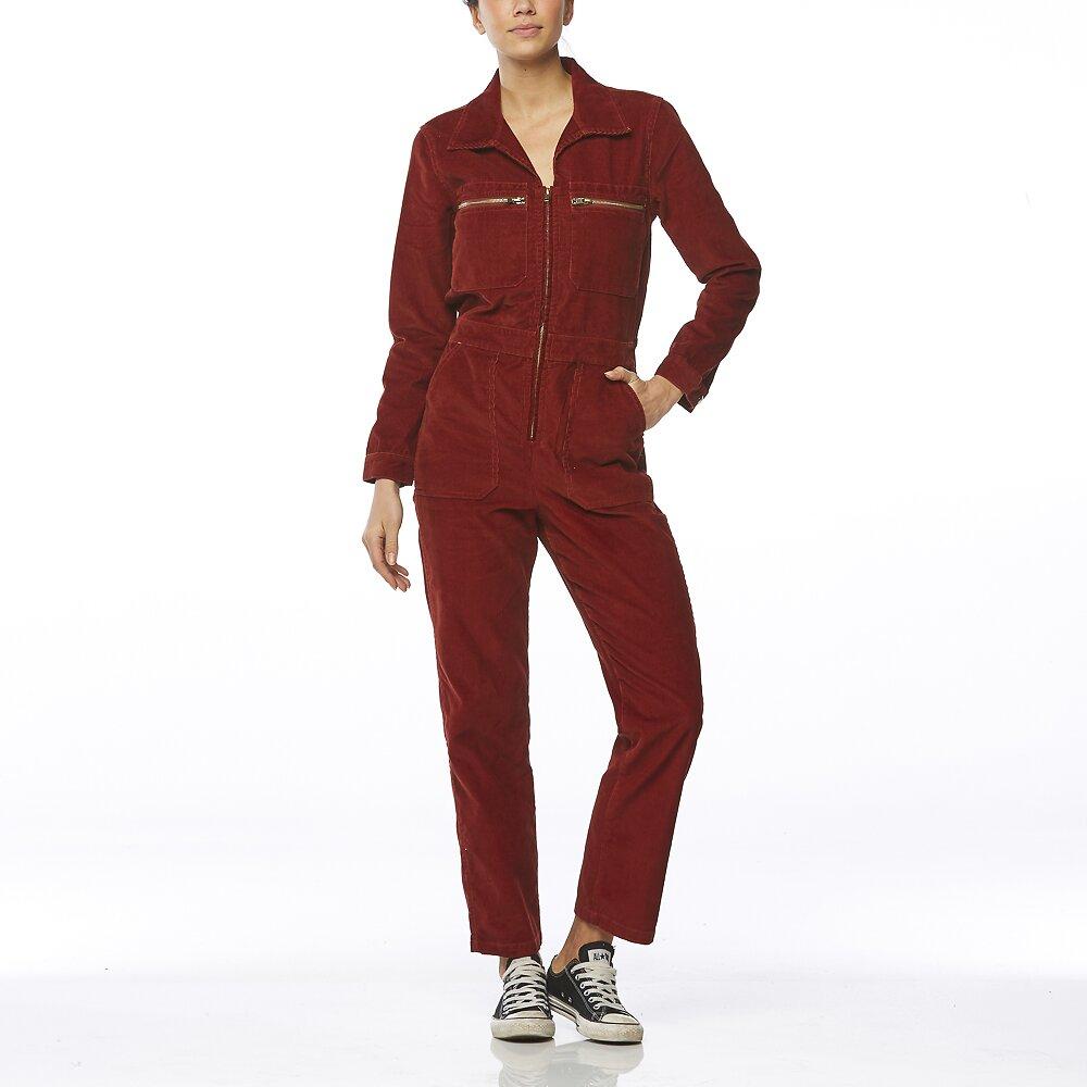 Image of Wrangler Chambray Blue Heartbreaker Jumpsuit Rust Red