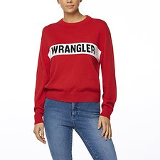 Image of Wrangler Red Riva Panel Sweater Red