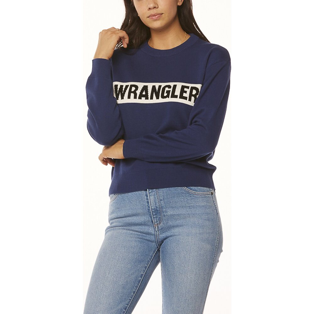 Image of Wrangler Vintage Navy Riva Panel Sweater Vintage Navy