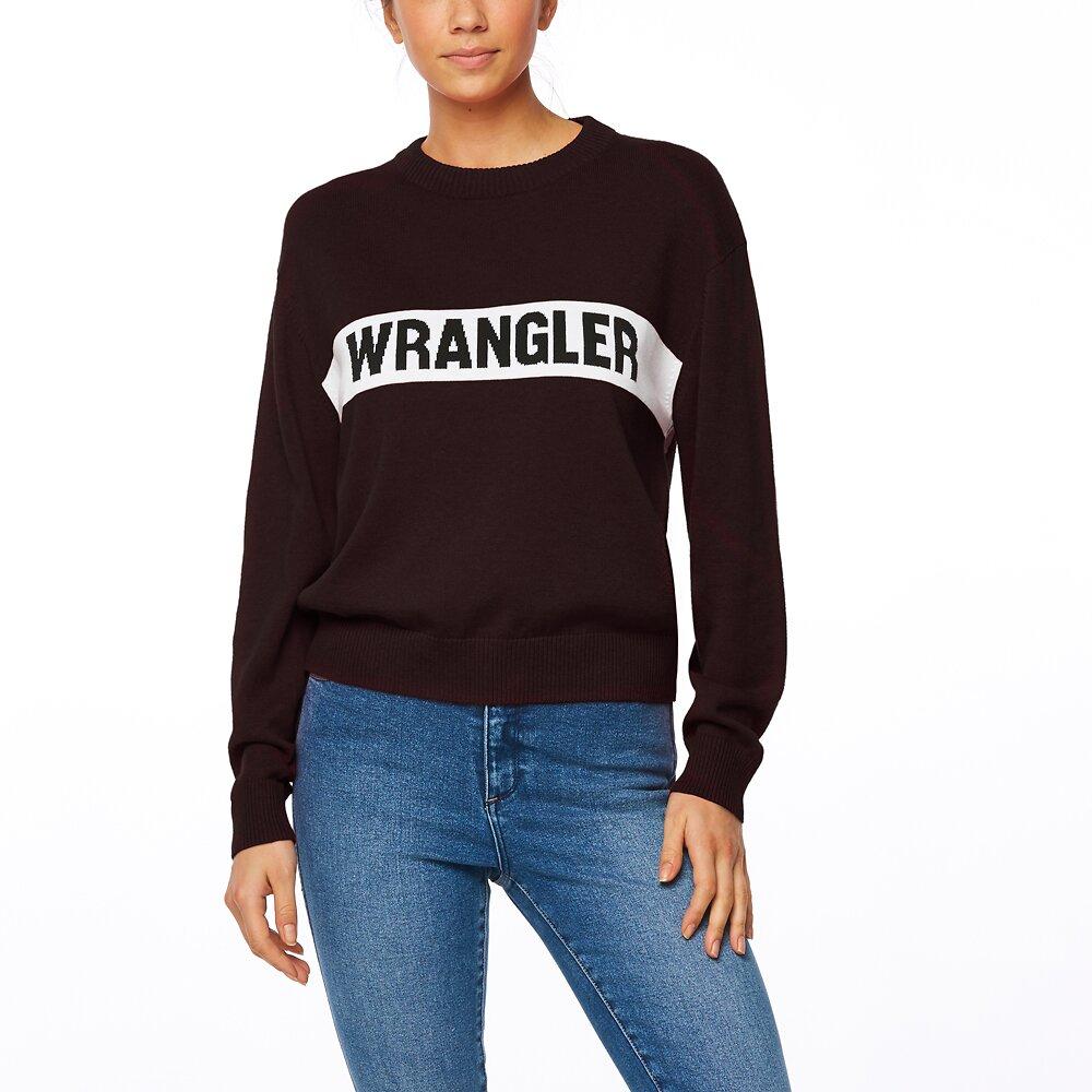 Image of Wrangler Black Riva Panel Sweater Black