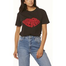 Image of Wrangler Worn Black Lips Tee Worn Black