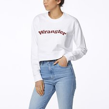Image of Wrangler Plum Pink Revel Cropped Fleece White