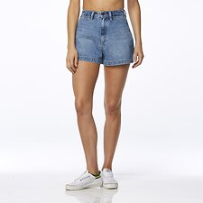 Image of Wrangler Debarres Blue Hi Bells Short Debarres Blue