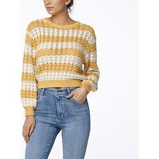 Image of Wrangler Gold White Sunshine Stripe Knit Gold White