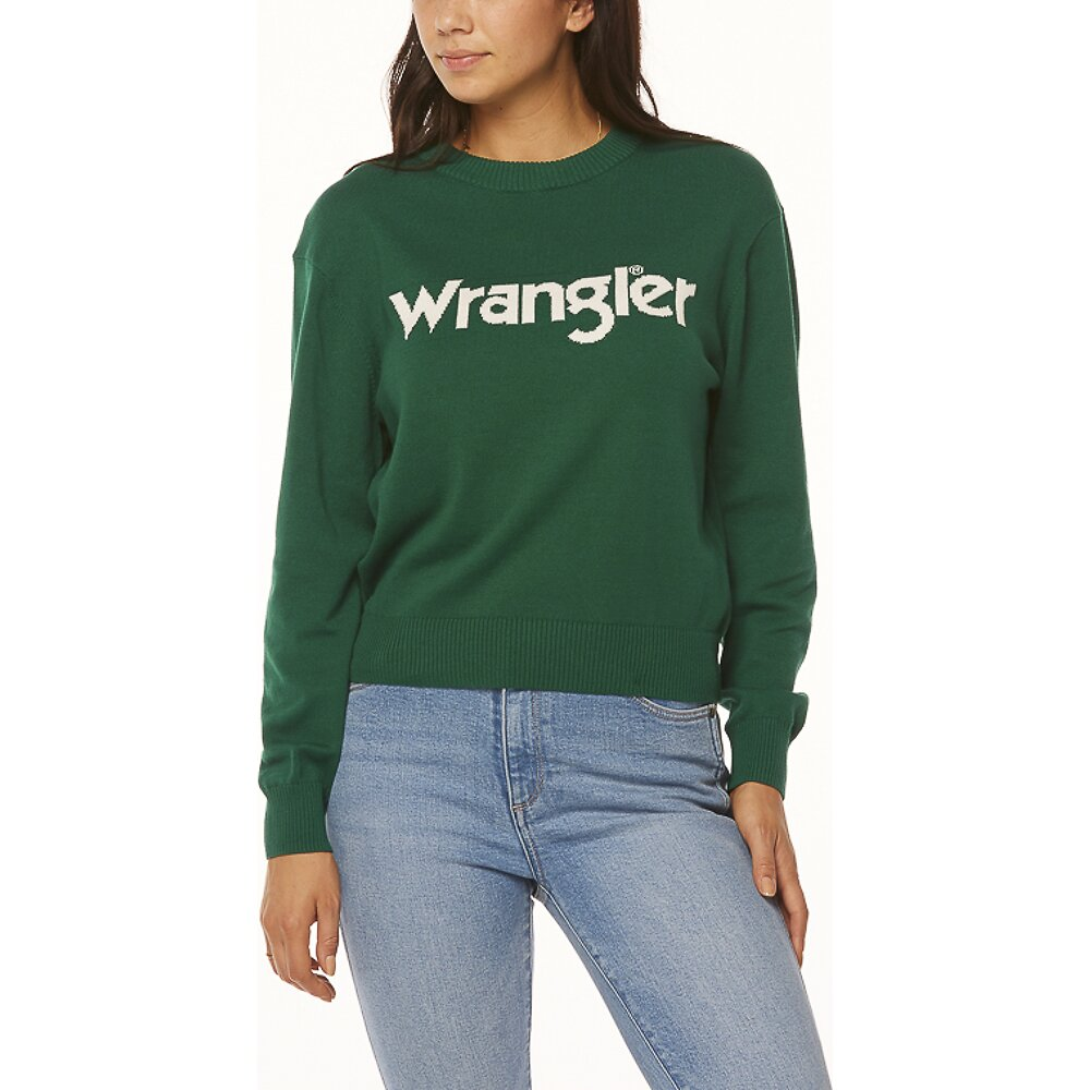 Image of Wrangler Green Blue Wrangler Sweater Green/White