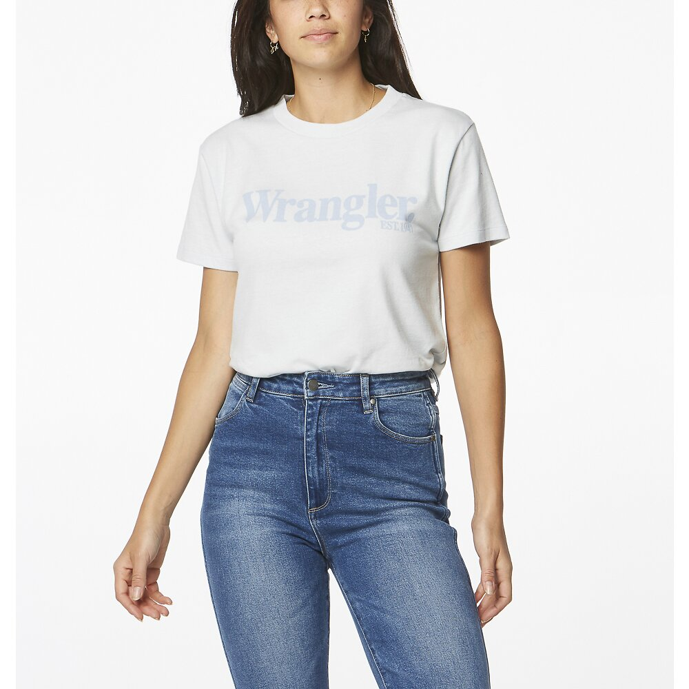 Image of Wrangler Soft Blue Lights Logo Tee Soft Blue